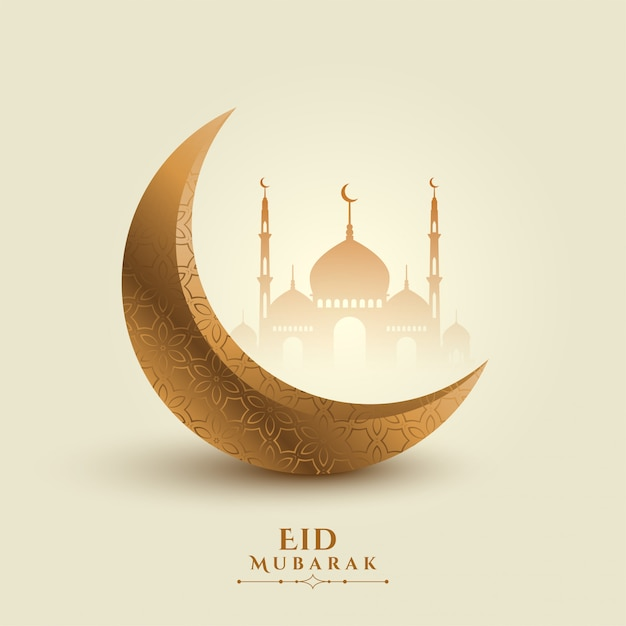 Eid mubarak moon and mosque beautiful background Free Vector