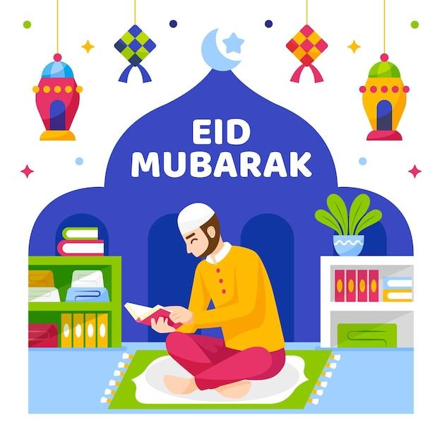 Eid mubarak muslim character reading Free Vector