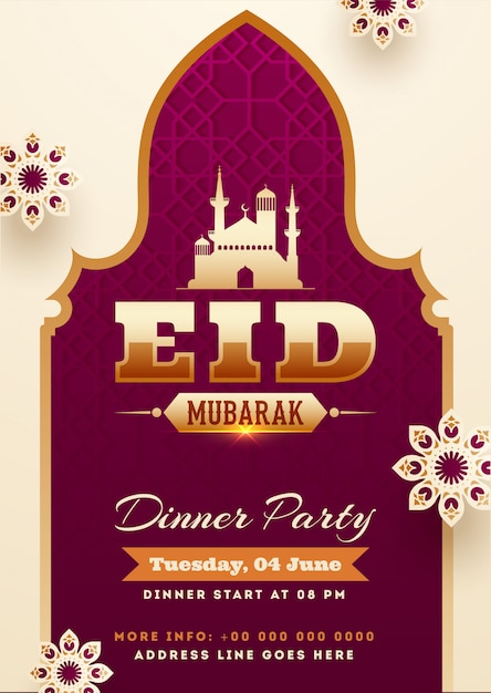 Eid Mubarak Party Invitation Card Template Design With