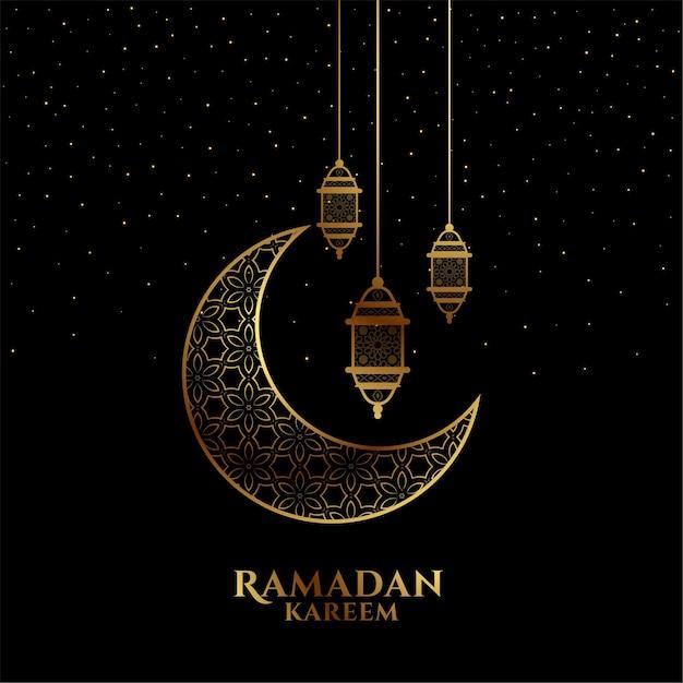 Eid mubarak or ramadan kareem black and golden decorative greeting Free Vector