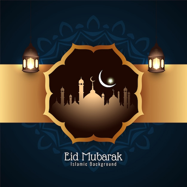 Eid mubarak religious festival islamic background Free Vector