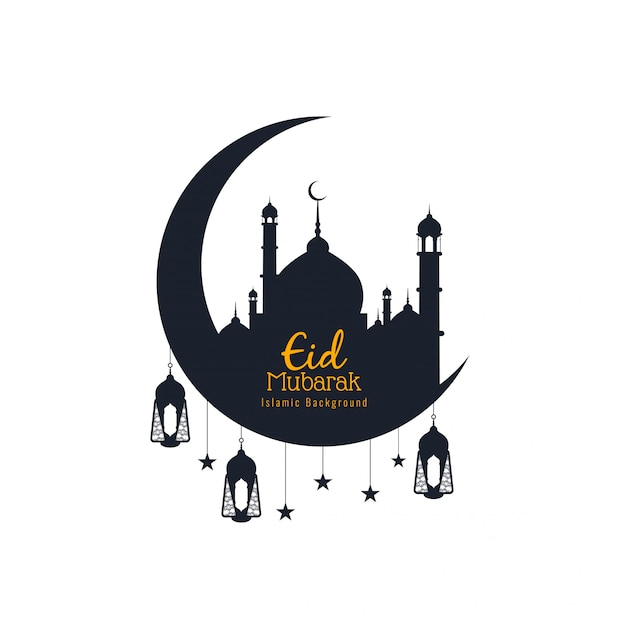 Eid mubarak, religious islamic silhouettes with crescent moon Free Vector