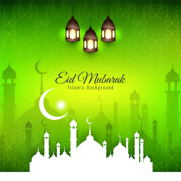 Eid mubarak, religious islamic silhouettes with green background Free Vector