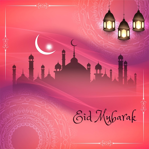 Eid mubarak, religious islamic silhouettes with pink background Free Vector