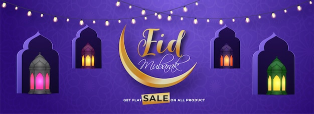 Eid mubarak sale header or banner design with golden crescent mo Premium Vector