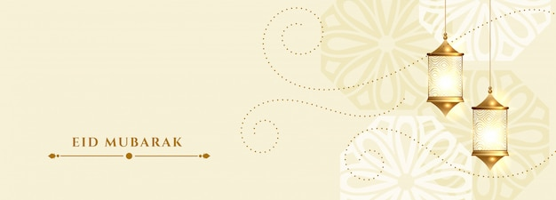 Eid mubarak white banner with hanging lamps decoration Free Vector