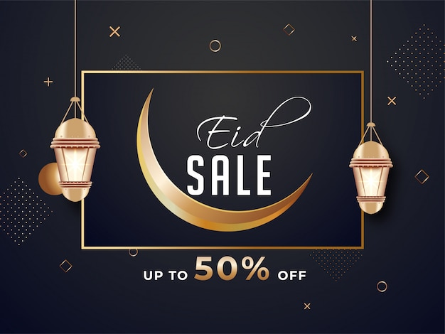 Eid sale banner or poster design with 50% discount offer, cresce Premium Vector