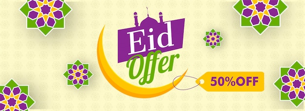 Eid sale header or banner design with 50% discount offer and cre Premium Vector
