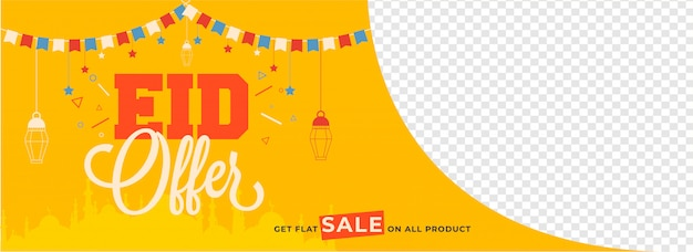 Eid sale header or banner design with given space for your produ Premium Vector