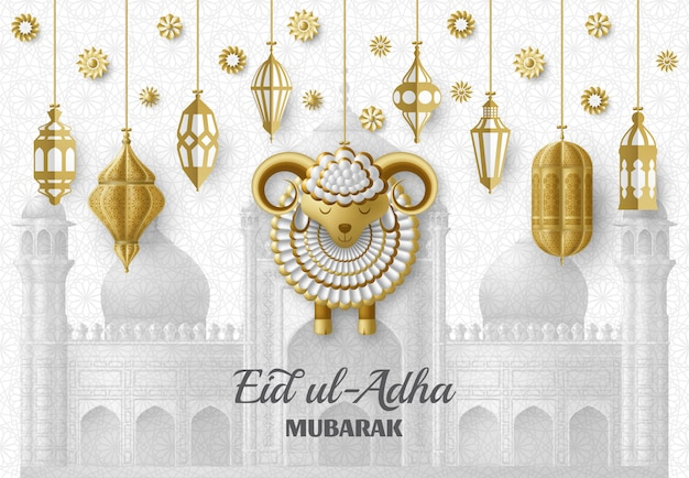Eid ul adha background. islamic arabic lanterns and sheep. greeting card. festival of the sacrifice. illustration. Premium Vector