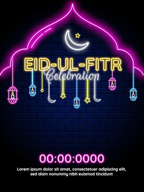 Eid-ul-fitr neon lighting effect with crescent moon and hanging lanterns. template Premium Vector