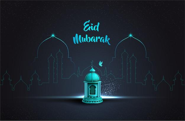 美しいブルーランタンとイスラムの挨拶eidムバラクカードデザイン Premiumベクター