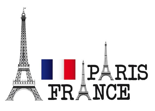 Eiffel tower design, paris france Premium Vector
