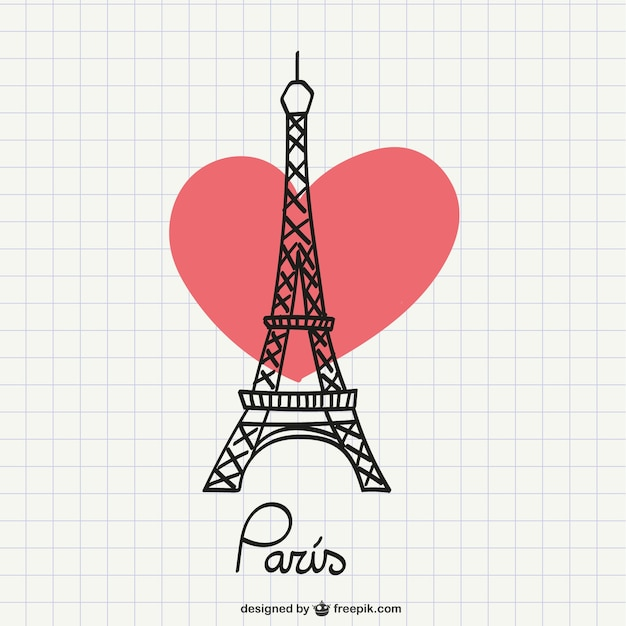 Eiffel tower drawing with heart Free Vector