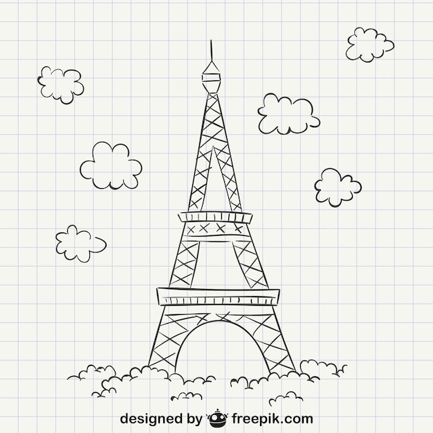 Eiffel tower drawing Free Vector