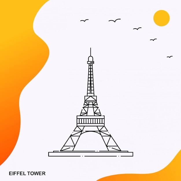 Eiffel tower france monument Premium Vector