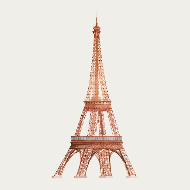 The eiffel tower in france watercolor illustration Free Vector