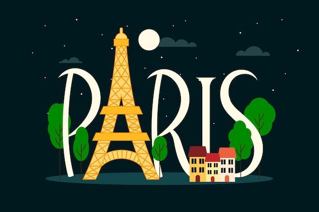 Эйфелева башня париж город надписи Бесплатные векторы