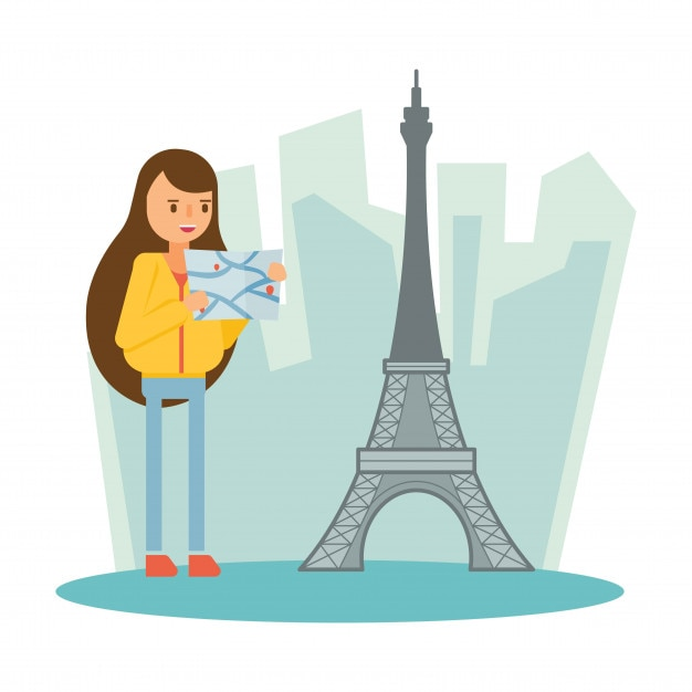 eiffel tower paris france  travel vacation cartoon character Premium Vector