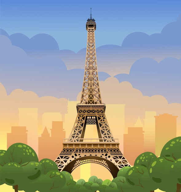 Eiffel tower in paris. sunset on the champs elysees. evening paris. sunset in france Premium Vector
