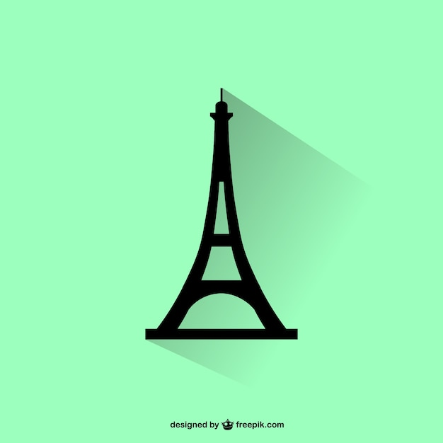 Eiffel tower silhouette Free Vector