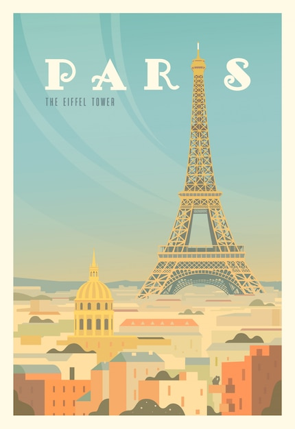 The eiffel tower, trees. time to travel. around the world. quality  poster. france. Premium Vector