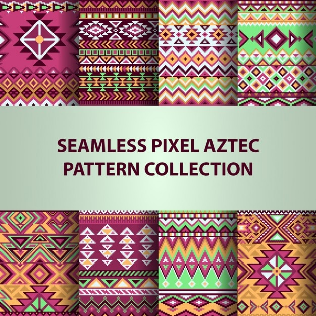 Eight aztec patterns, backgrounds Vector | Free Download