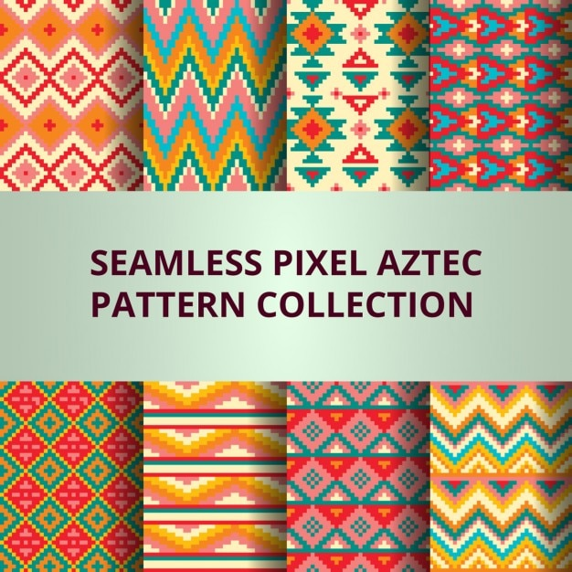 Eight colorful pixel patterns with aztec decoration Free Vector