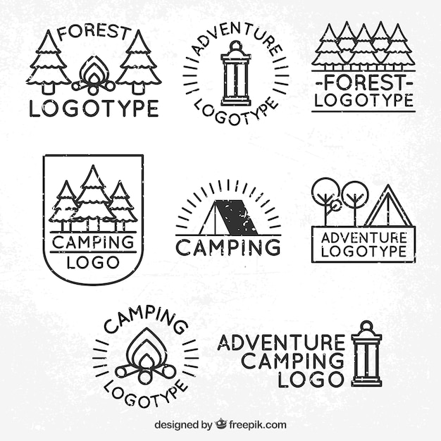 Eight logos of adventure and camping in the\ forest