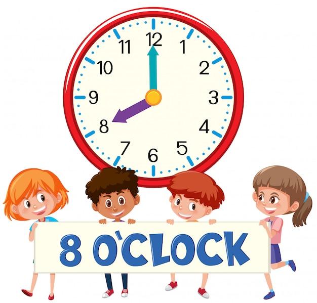 Premium Vector Eight O Clock With Children
