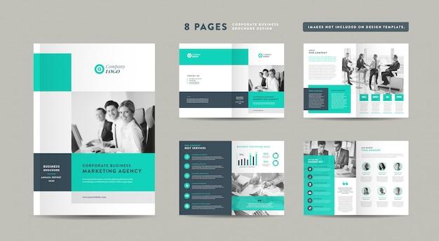 8ページビジネスパンフレットデザイン|アニュアルレポートと会社概要|小冊子とカタログのデザインテンプレート Premiumベクター