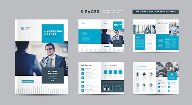 Eight pages corporate business brochure design   annual report and company profile   booklet and catalog design template Premium Vector