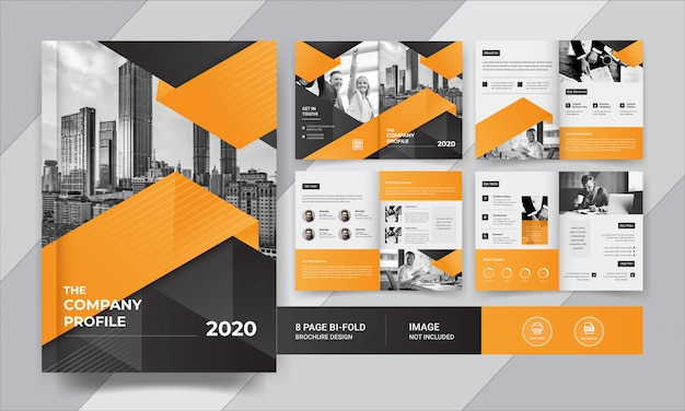 Eight pages  corporate business brochure design Premium Vector
