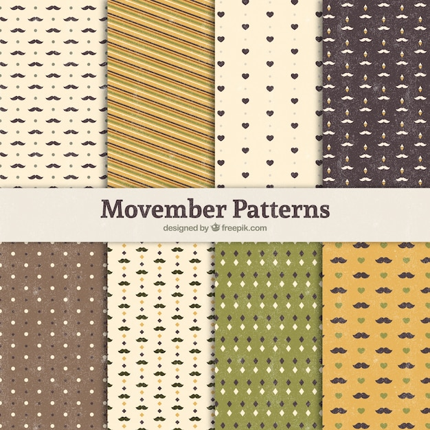 Eight patterns for movember Free Vector