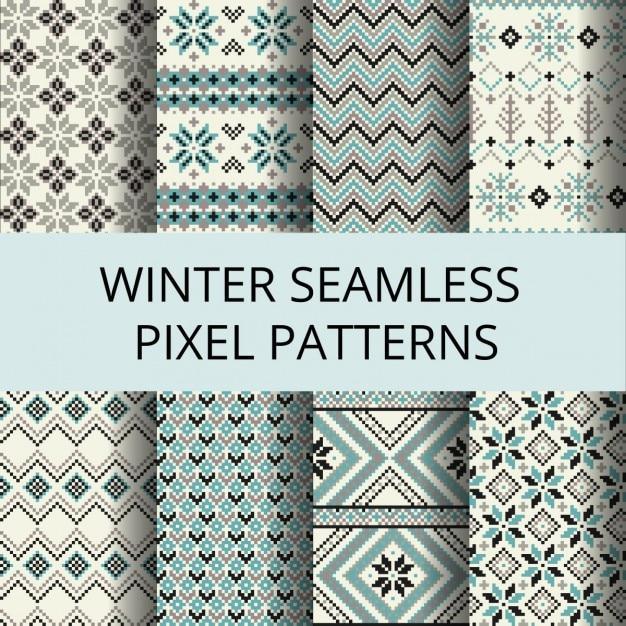 Eight patterns for winter made with pixels Free Vector