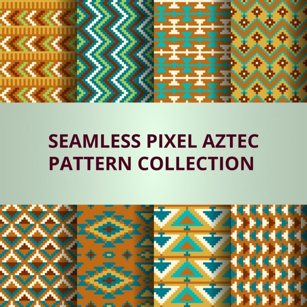 Eight pixel patterns with aztec decoration vector free for Aztec decoration