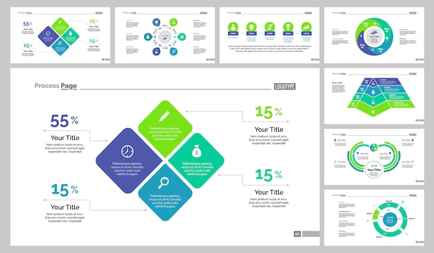 eight research slide templates set vector free download