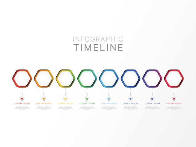 Eight steps 3d infographic template with hexagonal elements Premium Vector
