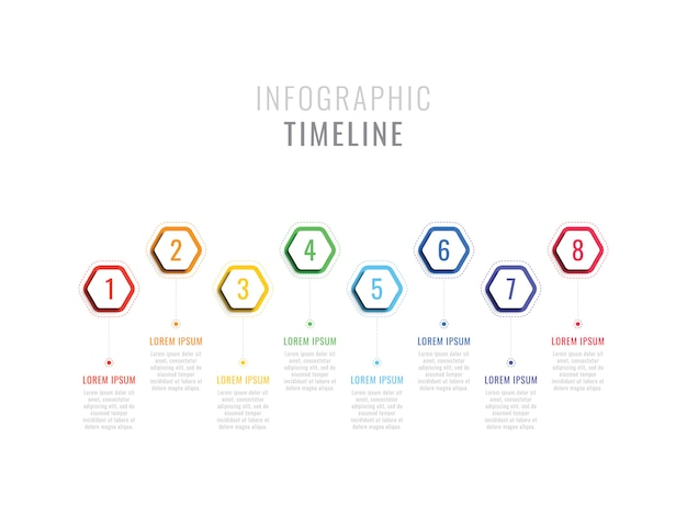 Eight steps infographic timeline with hexagonal elements. Premium Vector