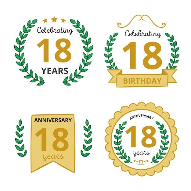 Коллекция значков восемнадцатого дня рождения Бесплатные векторы