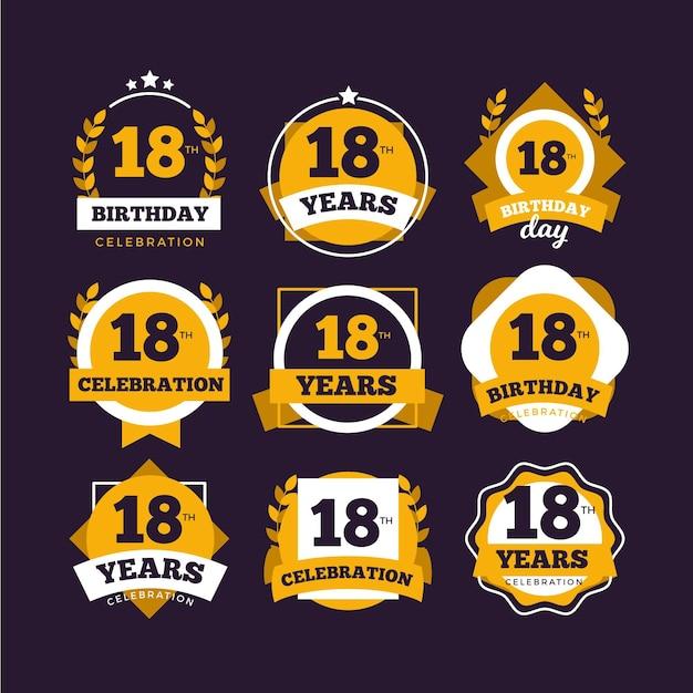 Набор значков восемнадцатого дня рождения Бесплатные векторы