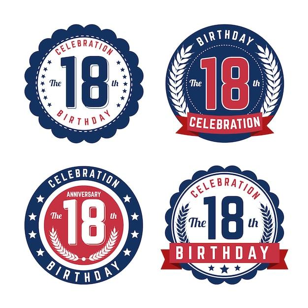 Eighteenth birthday badges set Free Vector