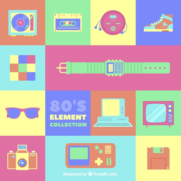 Eighties elements with bright colors Free Vector