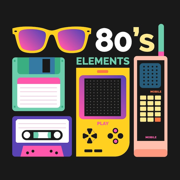 Eighties elements with high contrast Premium Vector