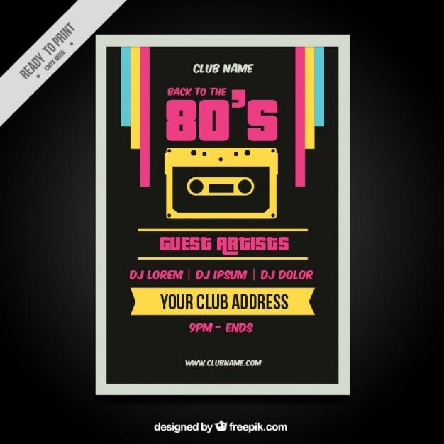 Eighties retro colorful brochure Free Vector