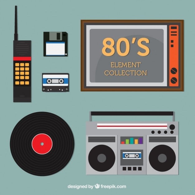 Eighties technological objects set Free Vector