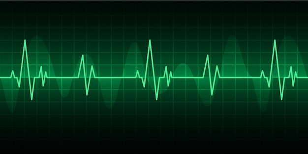 信号を伴う緑色の心臓パルスモニタ。ハートビートアイコン。 ekg Premiumベクター