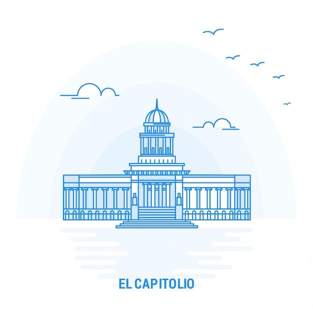 El capitolio blue landmark Premium Vector