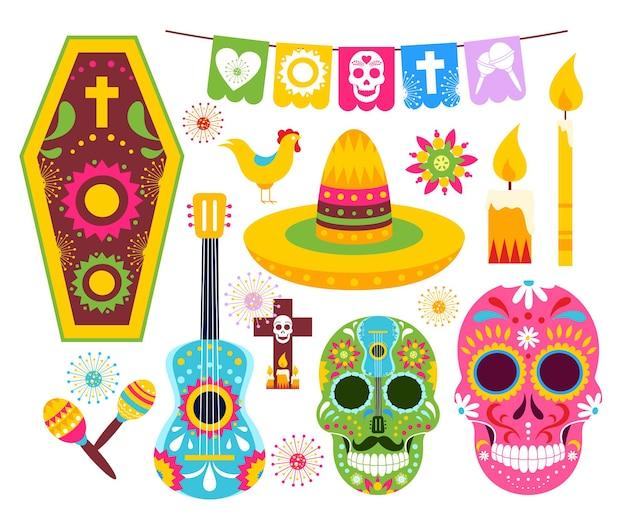 El dia de muertos, mexican day of dead. art dead skulls from mexico, skeleton masks for party Premium Vector