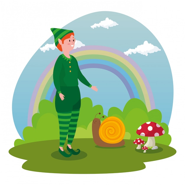 El with snail in scene fairytale Free Vector